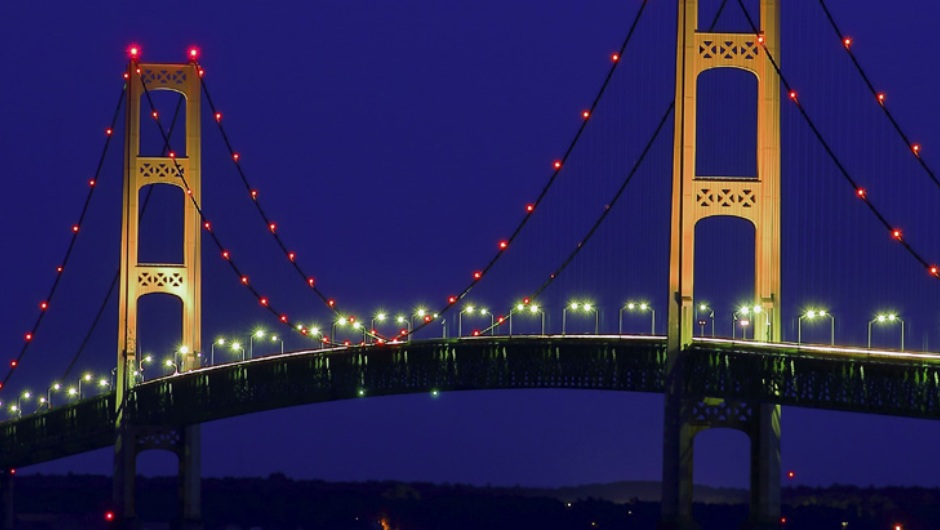 The Mackinac Bridge at night